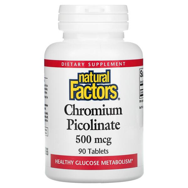 Natural Factors, Chromium Picolinate, 500 mcg, 90 Tablets