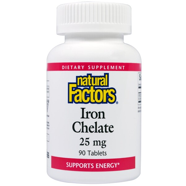 Natural Factors, Iron Chelate, 25 mg, 90 Tablets (Discontinued Item)