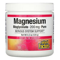 Natural Factors, Magnesium Bisglycinate, Pure, 200 mg, 4.2 oz (120 g)
