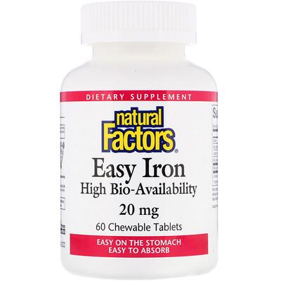 Natural Factors Железо, 20 мг, 60 жевательных таблеток