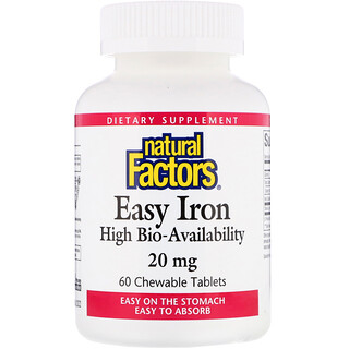 Natural Factors, Easy Iron, Fruit Flavor, 20 mg, 60 Chewable Tablets