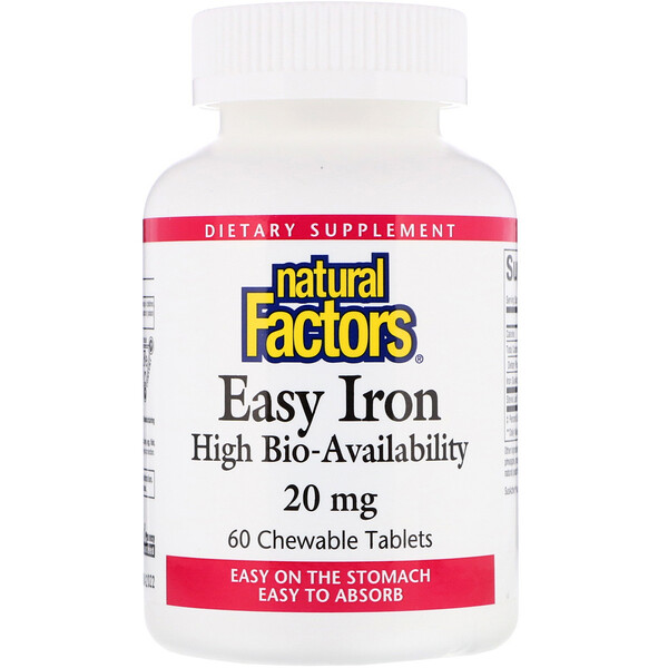Easy Iron, Fruit Flavor, 20 mg, 60 Chewable Tablets