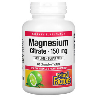 Natural Factors, Magnesium Citrate, Key Lime, 150 mg, 60 Chewable Tablets