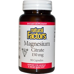 Natural Factors, Magnesium Citrate, 150 mg, 90 Capsules