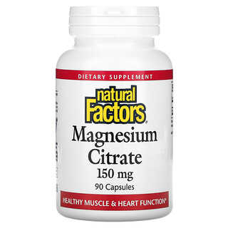 Natural Factors, цитрат магния, 150мг, 90капсул