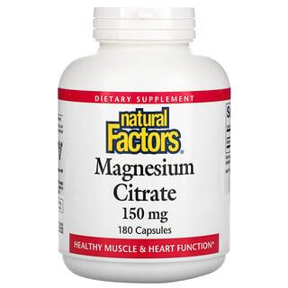 Natural Factors, Citrato de magnesio, 150mg, 180cápsulas