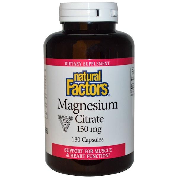 Natural Factors, 檸檬酸鎂膠囊,150毫克,180粒