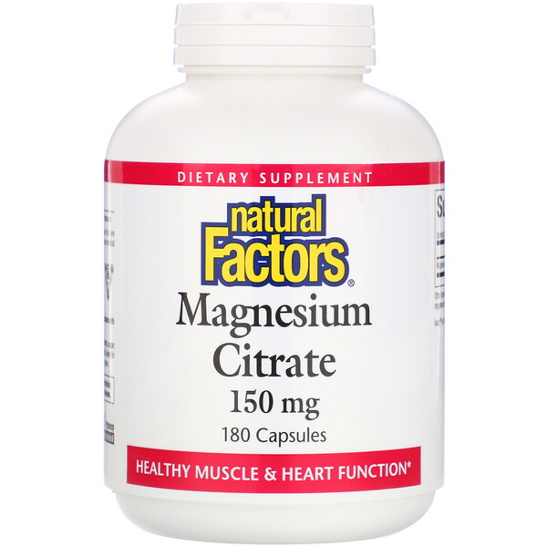 Natural Factors, Citrate de magnésium, 150 mg, 180 gélules