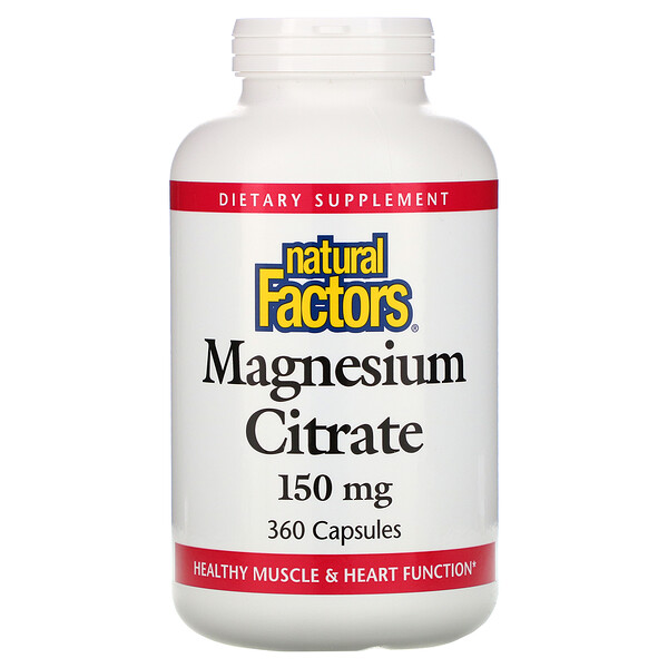 Natural Factors, Magnesium Citrate, 150 mg, 360 Capsules