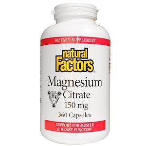 Natural Factors, Цитрат магния, 360 капсул
