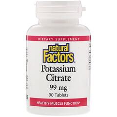 Natural Factors, Potassium Citrate, 99 mg, 90 Tablets