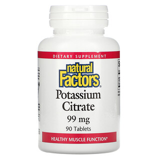Natural Factors, Citrato de Potássio, 99 mg, 90 Tabletes