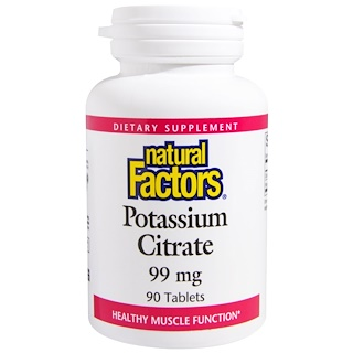 Natural Factors, Potassium Citrate, 99 mg, 90 Tablets