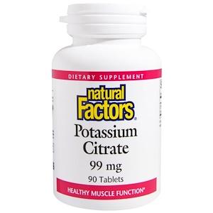 Natural Factors, Цитрат калия, 99 мг, 90 таблеток инструкция, применение, состав, противопоказания