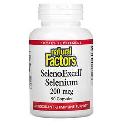 Natural Factors, SelenoExcell,硒,200 微克,90 粒膠囊