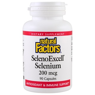 Natural Factors, SelenoExcell, Selenium , مقدار 200 ميكروغرام, عدد 90 كبسولة