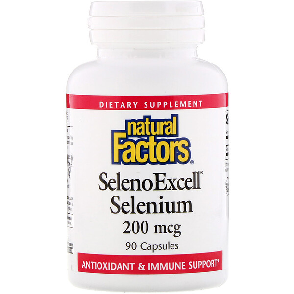 Natural Factors, SelenoExcell、Selenium、200 mcg、90錠