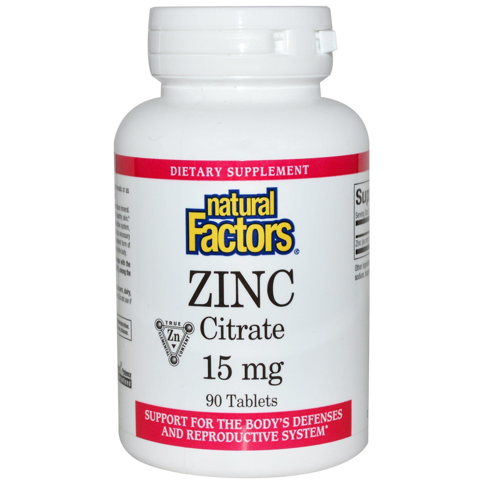 Natural Factors, Цитрат цинка, 15 мг, 90 таблеток