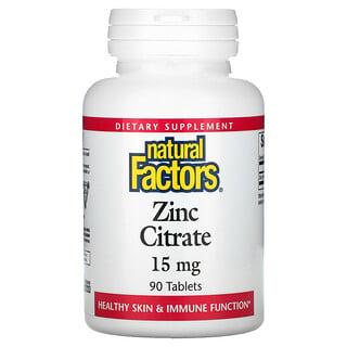 Natural Factors, Zinc Citrate, 15 mg, 90 Tablets