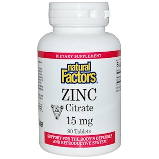 Natural Factors, Zinc Citrate, 15 mg, 90 Tablets