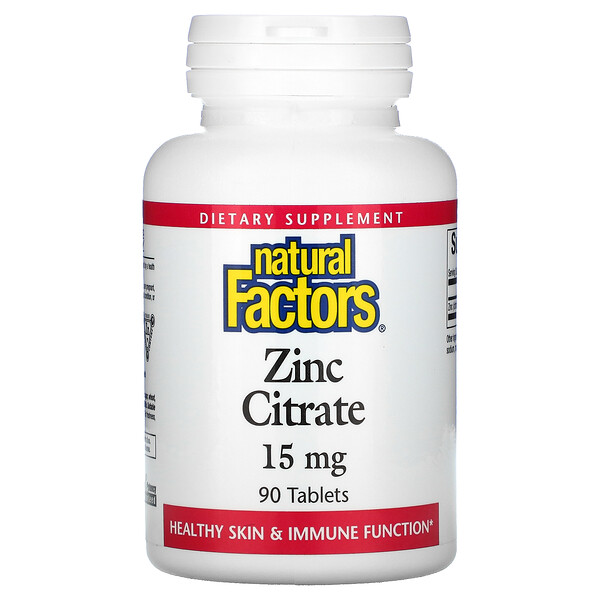 Natural Factors, Citrato de zinc, 15 mg, 90 comprimidos
