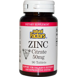 Natural Factors, Zinc Citrate, 50 mg, 90 Tablets