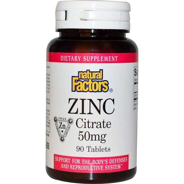 Natural Factors, Citrato de Zinc, 50 mg, 90 Tabletas