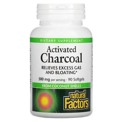 Купить Natural Factors Activated Charcoal, 500 mg, 90 Softgels