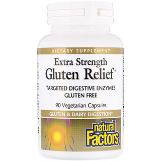 Natural Factors, Extra Strength Gluten Relief, 90 Vegetarian Capsules