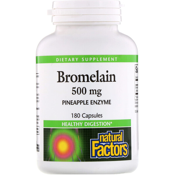 Natural Factors, Bromelain, 500 mg, 180 Cápsulas