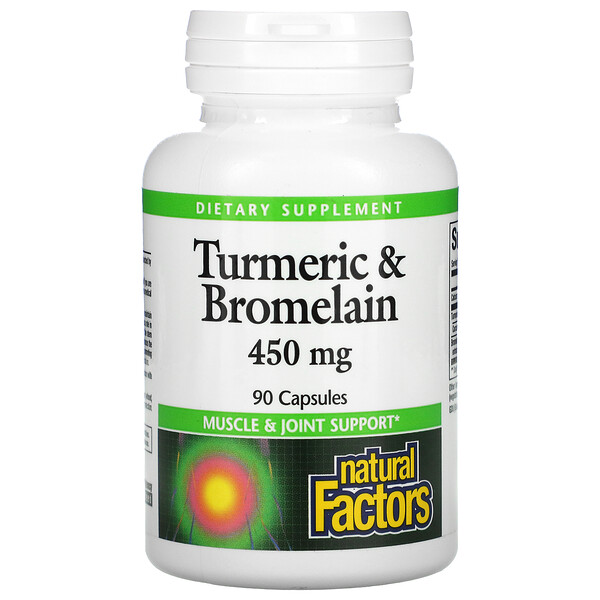 Turmeric & Bromelain, 450 mg, 90 Capsules