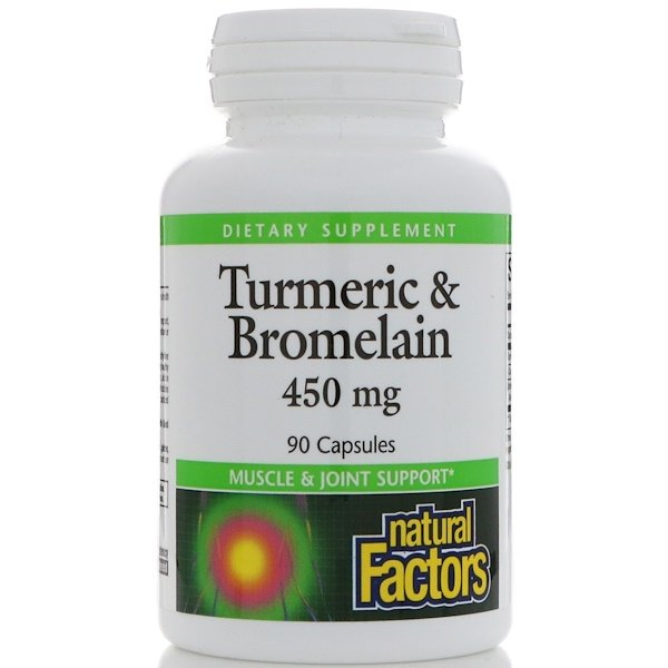 Natural Factors, Curcuma et bromélaïne, 450 mg, 90 Gélules