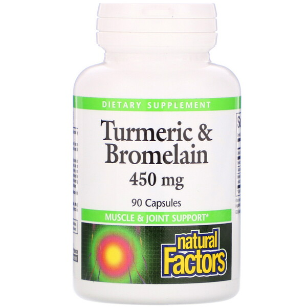Natural Factors, Cúrcuma e Bromelaína, 450 mg, 90 cápsulas