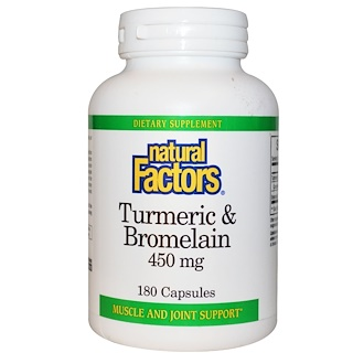 Natural Factors, Cúrcuma e Bromelaína, 450 mg, 180 Cápsulas