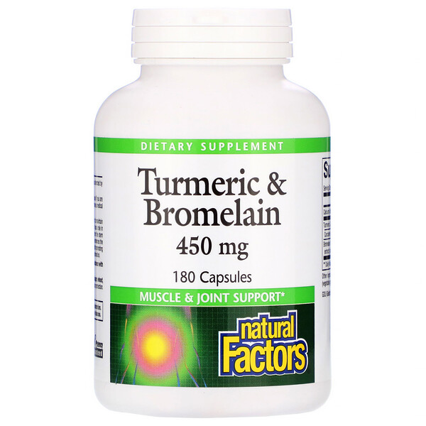 Natural Factors, Cúrcuma y Bromelina, 450 mg, 180 Cápsulas
