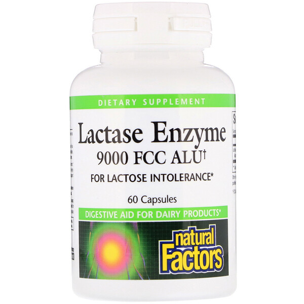 Natural Factors, Enzyme de lactase, 9 000 FCC ALU, 60 capsules