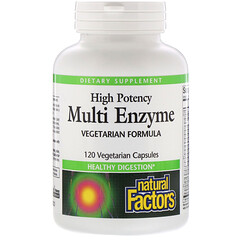 Natural Factors, Multi Enzyme, High Potency, Vegetarian Formula, 120 Vegetarian Capsules