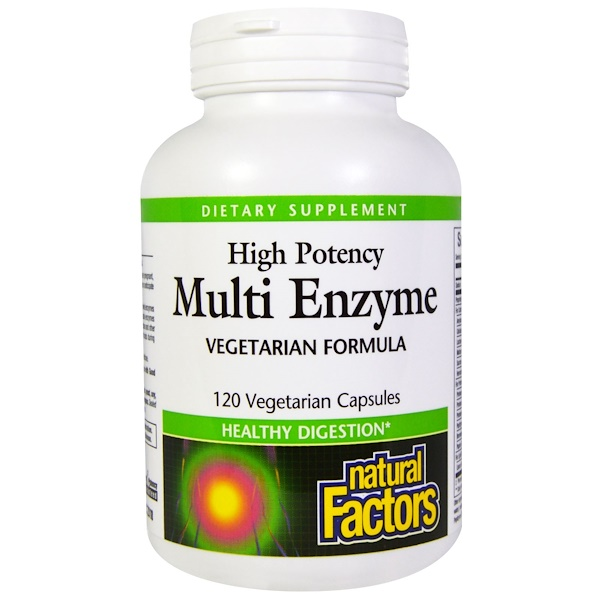 Natural Factors, Multi Enzyme, High Potency, Vegetarian Formula, 120 Veggie Caps