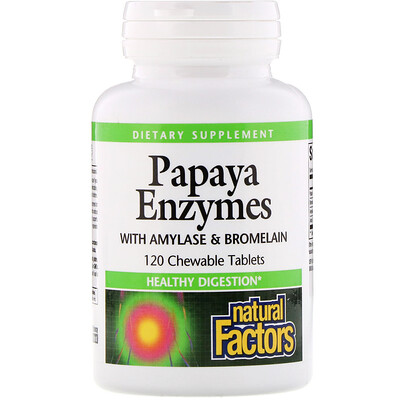 Natural Factors Papaya Enzymes with Amylase & Bromelain, 120 жевательных таблеток