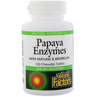 Natural Factors, Papaya Enzymes, 120 tabletas masticables