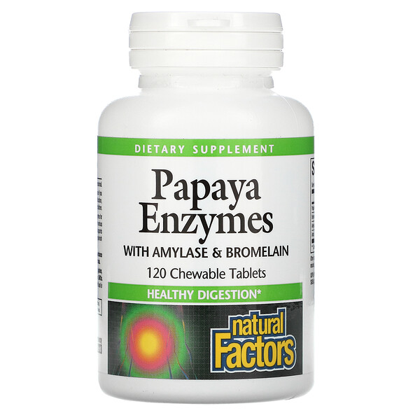 Papaya Enzymes with Amylase & Bromelain, 120 Chewable Tablets