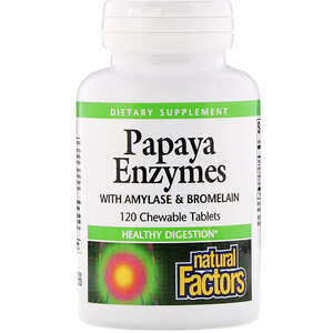 Натурал Факторс, Papaya Enzymes with Amylase & Bromelain, 120 Chewable Tablets отзывы