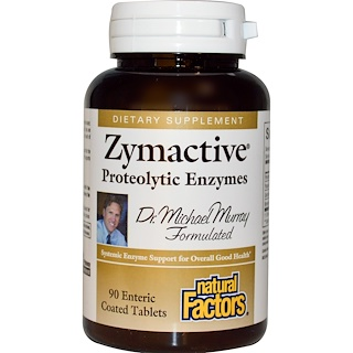 Natural Factors, Zymactive, Proteolytic Enzymes, 90 Enteric Coated Tablets