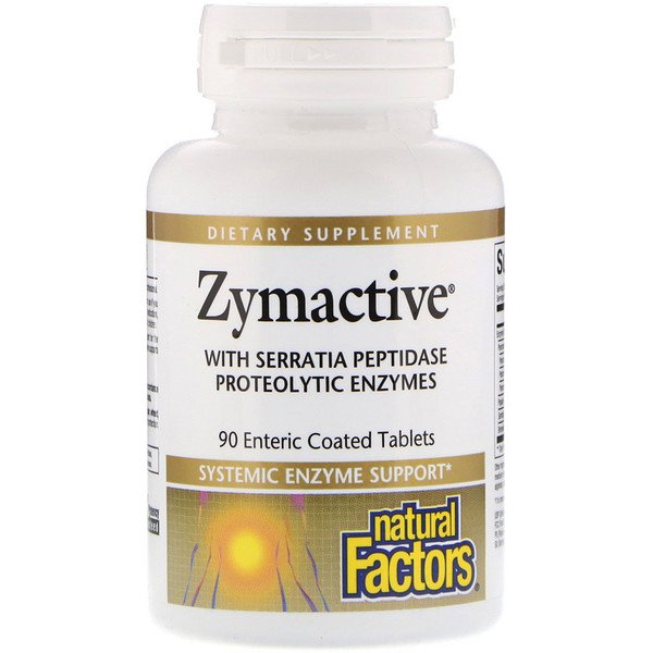 Natural Factors, Zymactive, Systematic Enzyme Support, 90 Enteric Coated Tablets (Discontinued Item)