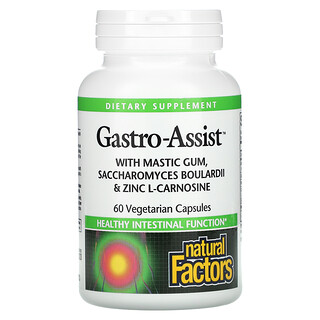 Natural Factors, Gastro-Assist with Mastic Gum, Saccharomyces Boulardii & Zinc L-Carnosine, 60 Vegetarian Capsules