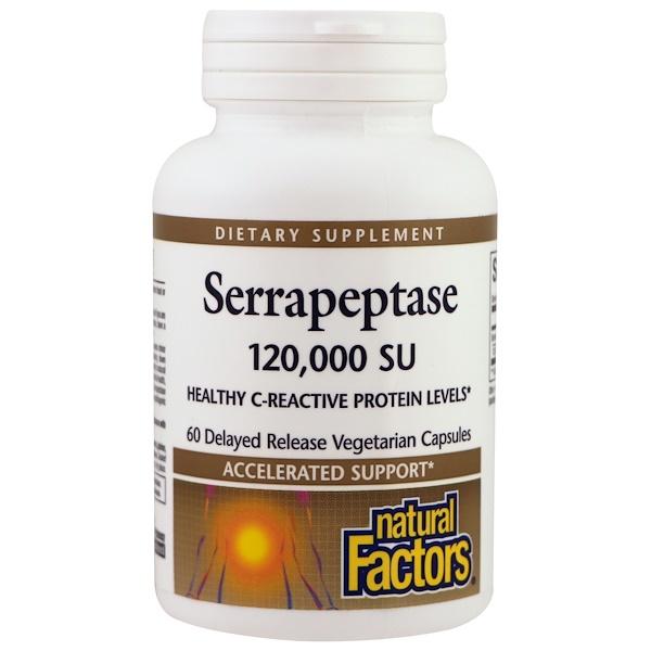Natural Factors, Serrapeptase 120,000 SU, 60 Delayed Release Vegetarian Capsules
