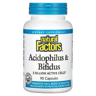 Natural Factors, Acidophilus & Bifidus, 5 Billion, 90 Capsules