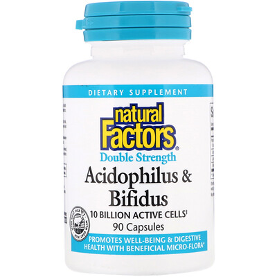 Купить Ацидофилус и бифидус, двойная сила, 10 млрд активных клеток, 90 капсул