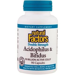 Natural Factors, Acidophilus & Bifidus, Double Strength, 10 Billion Active Cells, 90 Capsules