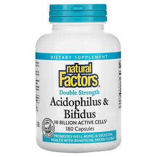 Natural Factors, Acidophilus & Bifidus, Double Strength, 10 Billion, 180 Capsules